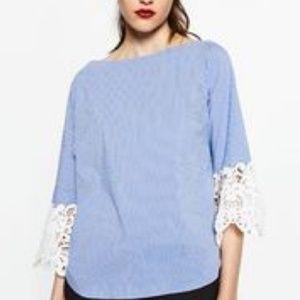 Zara Lace Bell Sleeve Shirt